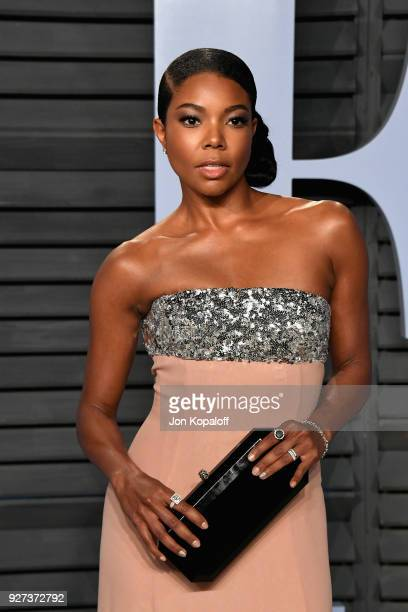 Gabrielle Union attends the 2018 Vanity Fair Oscar Party hosted by Radhika Jones at Wallis Annenberg Center for the Performing Arts on March 4 2018...