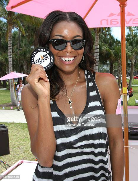 Gabrielle Union attends the evian® Live Young Skate On event on April 7 2012 in Miami Beach Florida