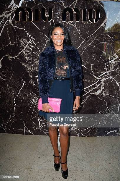Gabrielle Union attends the Miu Miu show as part of the Paris Fashion Week Womenswear Spring/Summer 2014 at Palais d'Iena on October 2 2013 in Paris...