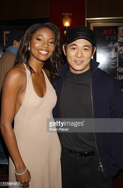 Gabrielle Union & costar Jet Li during World Premiere of Cradle 2 The Grave at Ziegfeld Theater in New York, New York, United States.