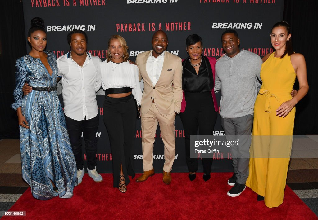 Gabrielle Union, Devonta Freeman, Heather Hayslett Packer, Will Packer, Keisha Lance Bottoms, James Lopez, and Jaime Primak Sullivan attend 'Breaking In' Atlanta Private Screening at Regal Atlantic Station on April 22, 2018 in Atlanta, Georgia.