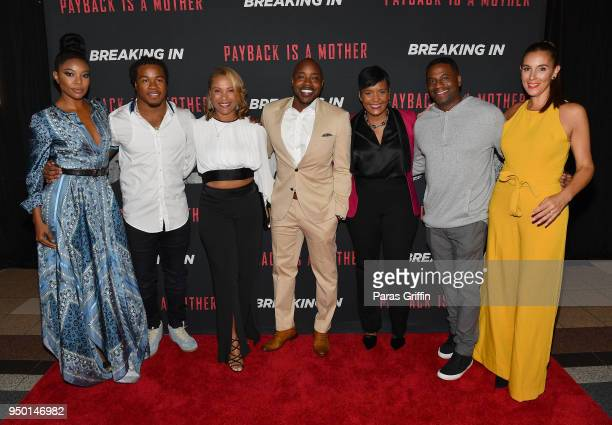 Gabrielle Union Devonta Freeman Heather Hayslett Packer Will Packer Keisha Lance Bottoms James Lopez and Jaime Primak Sullivan attend Breaking In...