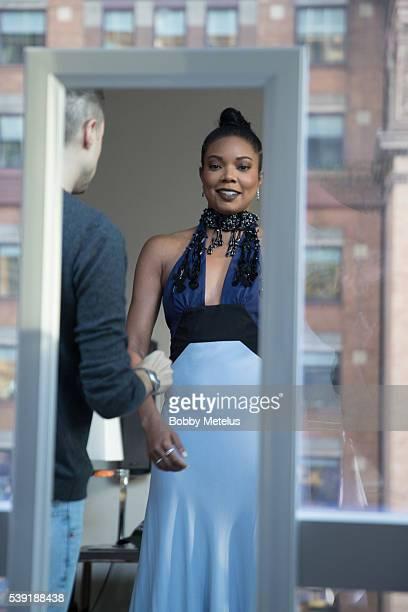 Gabrielle Union gets ready for amfAR Gala at Park Hyatt New York on June 9 2015 in New York New York