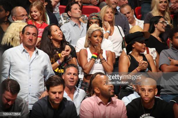 Gabrielle Union is seen at the game between the Miami Heat and the Portland Trail Blazers on October 27 2018 at American Airlines Arena in Miami...