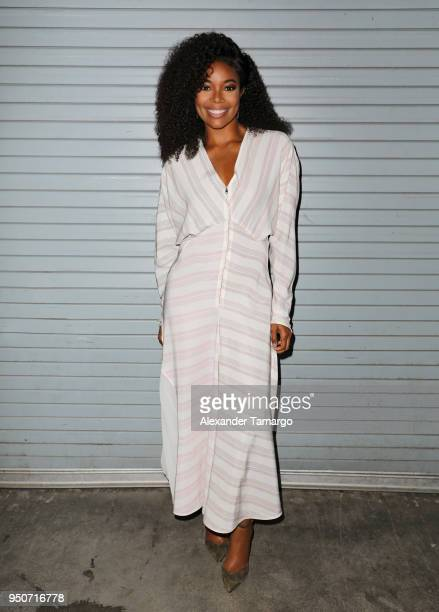 Gabrielle Union is seen on the set of Despierta America at Univision Studios to promote the film Breaking In on April 24 2018 in Miami Florida