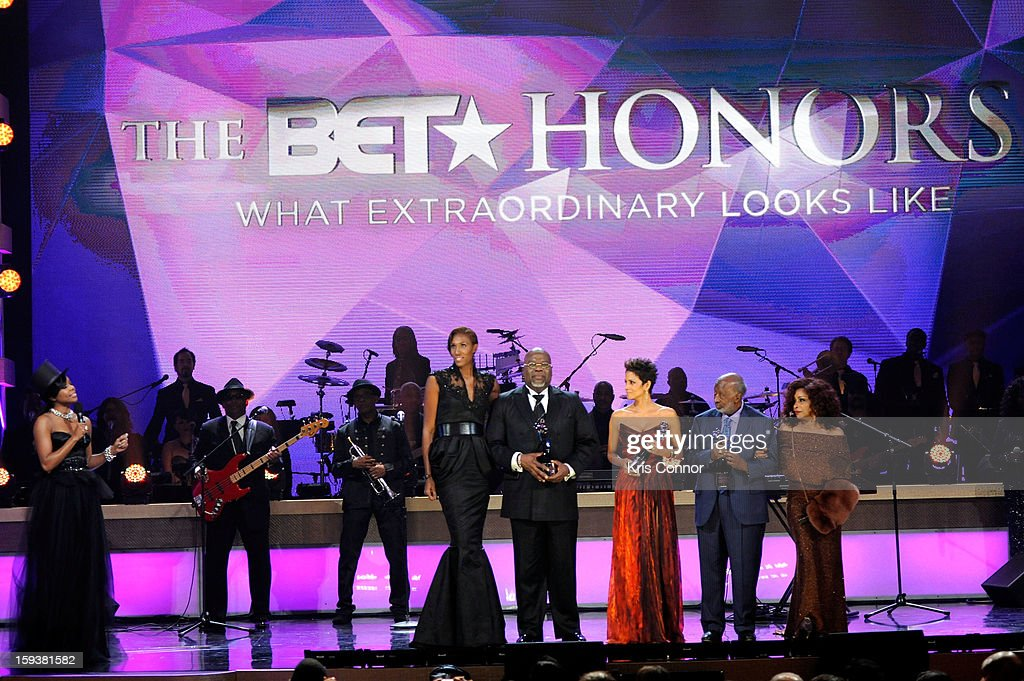 Gabrielle Union, Lisa Leslie, T.D. Jakes, Halle Berry, Clarence Avant and Chaka Khan onstage at BET Honors 2013 at Warner Theatre on January 12, 2013 in Washington, DC.
