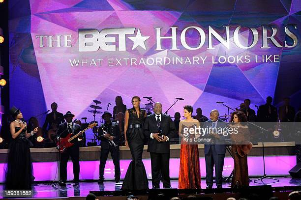 Gabrielle Union Lisa Leslie TD Jakes Halle Berry Clarence Avant and Chaka Khan onstage at BET Honors 2013 at Warner Theatre on January 12 2013 in...