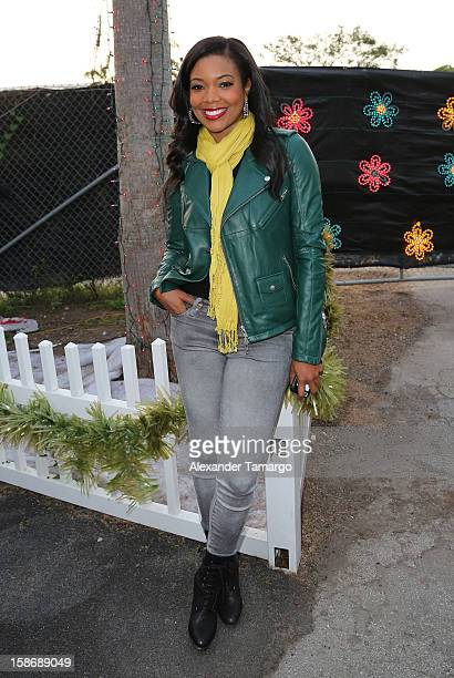 Gabrielle Union makes an appearance on behalf of Wade's World Foundation at Santa's Enchanted Forest on December 23 2012 in Miami Florida