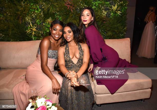 Gabrielle Union, Regina Hall and Olivia Munn attend the 2018 Vanity Fair Oscar Party hosted by Radhika Jones at Wallis Annenberg Center for the...
