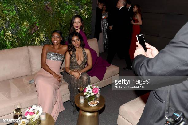 Gabrielle Union Regina Hall and Olivia Munn attend the 2018 Vanity Fair Oscar Party hosted by Radhika Jones at Wallis Annenberg Center for the...
