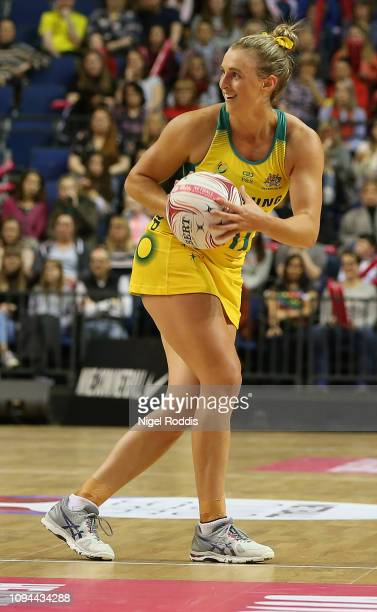 Gabriellle Simpson of Australia in action during the Vitality Netball International Series match between South Africa and Australian Diamonds as part...