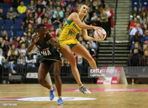 Gabriellle Simpson of Australia in action with Bongiwe Msomi of South Africa during the Vitality Netball International Series match between South...