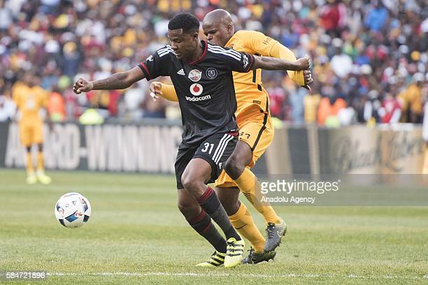 Gabuza Thamsanqa of Orlando Pirates in action against Willard Katsande Kaizer Chiefs FC during 2016 Carling Black Label Cup between Kaizer Chiefs FC...