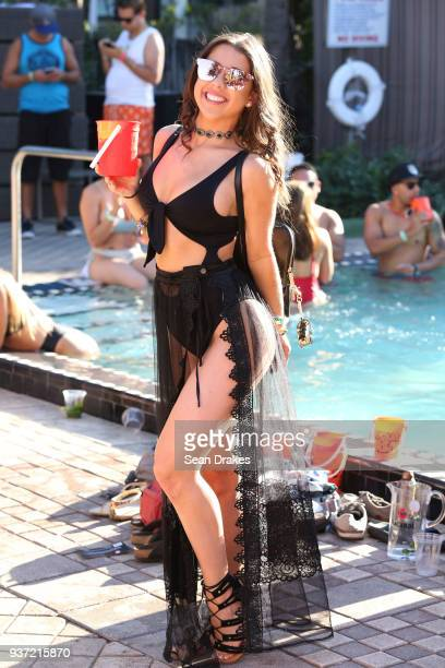 Gaby Acosta poses during the Chuckie Friends Party hosted by 935FM Revolution Radio Miami as part of Miami Music Week at the National Hotel on South...