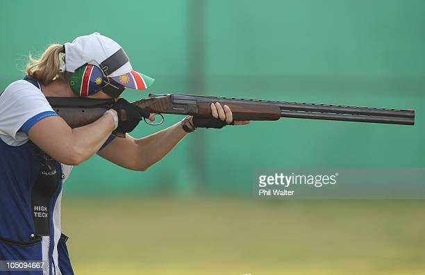 Gaby Ahrens of Namibia competes in the Womens Singles Trap at the Dr Karni Singh Shooting Range during day six of the Delhi 2010 Commonwealth Games...