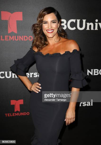 Gaby Espino arrives at the Telemundo and NBC Universal Latin America NATPE Red Carpet Event at LIV at the Fontainebleau on January 16 2018 in Miami...