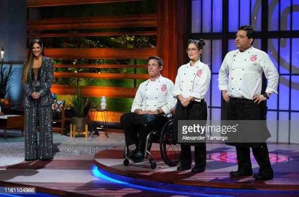 Gaby Espino John Pardo Lauren Arboleda and Javier Seanez are seen competing during the MasterChef Latino Season 2 Grand Finale at Telemundo Center on...