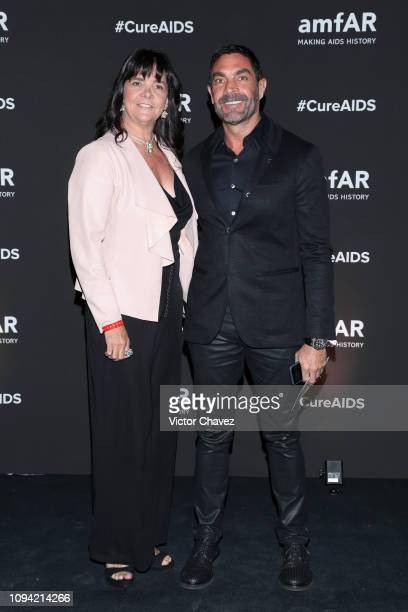 Gaby Gonzalez and Gerado Gonzalez pose during the amfAR gala dinner at the house of collector and museum patron Eugenio López on February 5 2019 in...