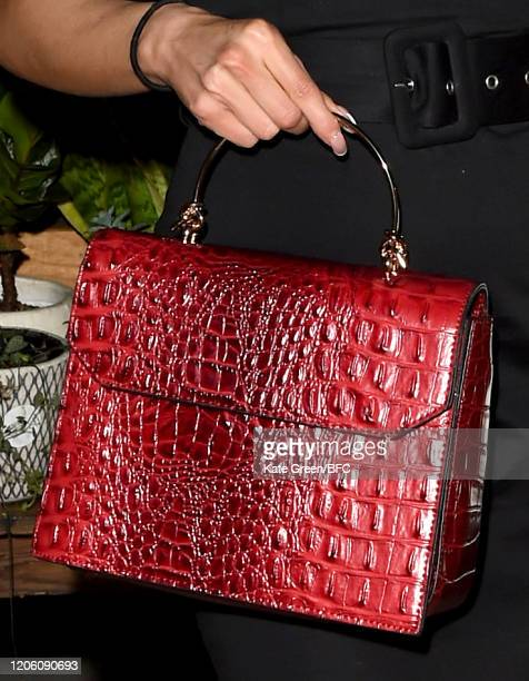 Gaby Guha bag detail attends the Wolf Badger 10th Year Anniversary party during London Fashion Week February 2020 at Coal Drops Yard on February 13...