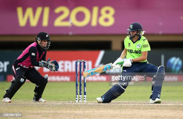 Gaby Lewis of Ireland bats with Katey Martin of New Zealand behind the stumps during the ICC Women's World T20 2018 match between New Zealand and...