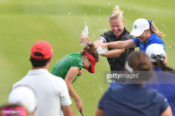 Gaby Lopez of Mexico celebrates after playing a shot on the 18th hole during the final round of the Blue Bay LPGA on November 10 2018 in Hainan...