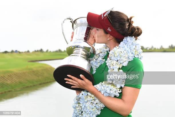 Gaby Lopez of Mexico celebrates after winning the Blue Bay LPGA on November 10 2018 in Hainan Island China