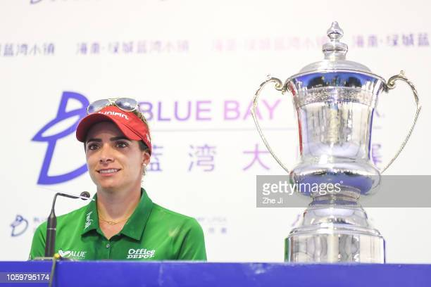 Gaby Lopez of Mexico during a press conference after winning the Blue Bay LPGA on November 10 2018 in Hainan Island China