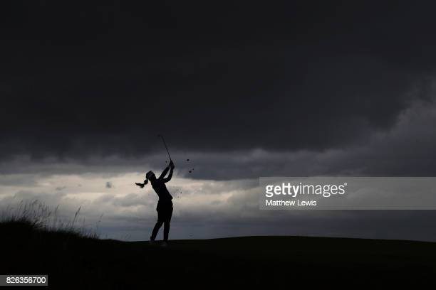Gaby Lopez of Mexico hits her second shot on the 4th hole during the second round of the Ricoh Women's British Open at Kingsbarns Golf Links on...