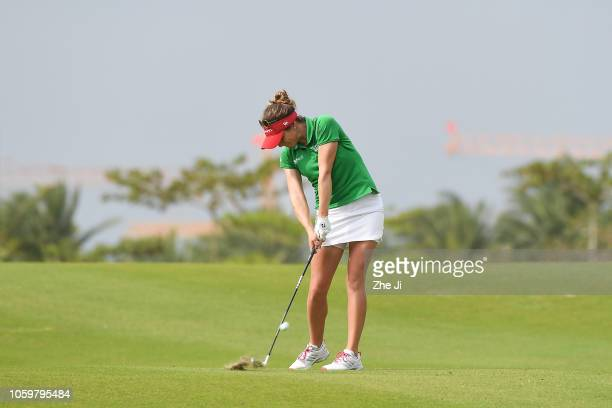 Gaby Lopez of Mexico plays a shot on the 16th hole during the final round of the Blue Bay LPGA on November 10 2018 in Hainan Island China