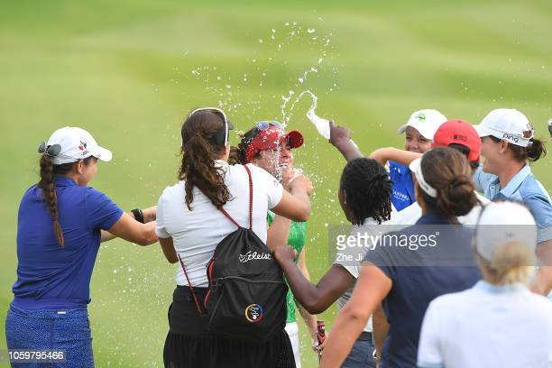 Gaby Lopez of Mexico plays a shot on the 18th hole during the final round of the Blue Bay LPGA on November 10 2018 in Hainan Island China