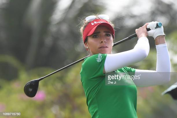 Gaby Lopez of Mexico plays a shot on the 1st hole during the final round of the Blue Bay LPGA on November 10 2018 in Hainan Island China