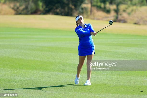 Gaby Lopez of Mexico plays a shot on the seventh hole during the first round of the Diamond Resorts Tournament Of Champions at Tranquilo Golf Course...