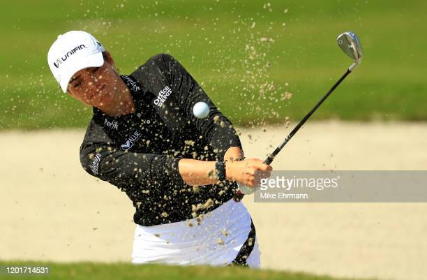 Gaby Lopez of Mexico plays out of the bunker on the 18th hole during the second round of the LPGA Gainbridge at Boca Rio on January 24 2020 in Boca...