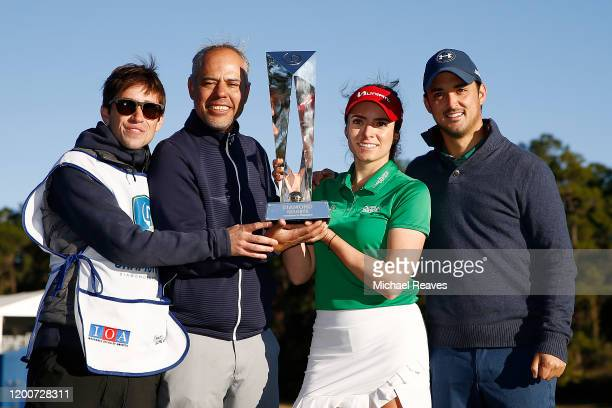 Gaby Lopez of Mexico poses for a photo with her team after winning the Diamond Resorts Tournament of Champions at Tranquilo Golf Course at Four...