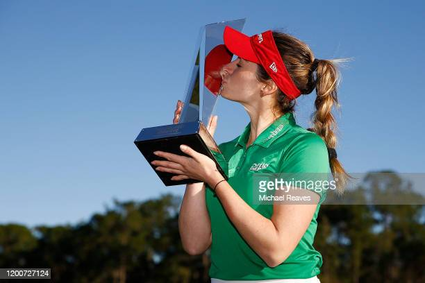 Gaby Lopez of Mexico poses with the trophy after winning the Diamond Resorts Tournament of Champions at Tranquilo Golf Course at Four Seasons Golf...