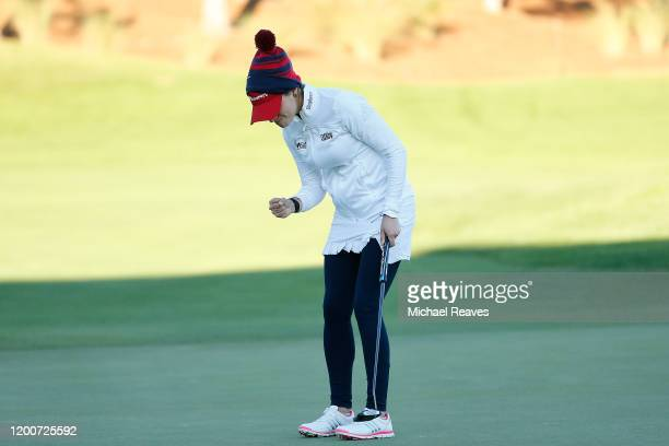 Gaby Lopez of Mexico reacts after a making a putt in the seventh playoff hole during the continuation of the final round to win the Diamond Resorts...