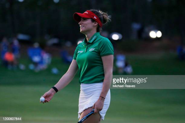 Gaby Lopez of Mexico reacts after a putt during the fourth playoff hole during the final round of the Diamond Resorts Tournament of Champions at...