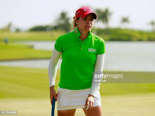 Gaby Lopez of Mexico reacts after her putt at the 18th green during the final round of the Blue Bay LPGA on Day 4 on October 23 2016 in Hainan Island...