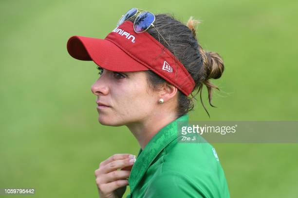 Gaby Lopez of Mexico reacts after playing a shot on the 18th hole during the final round of the Blue Bay LPGA on November 10 2018 in Hainan Island...
