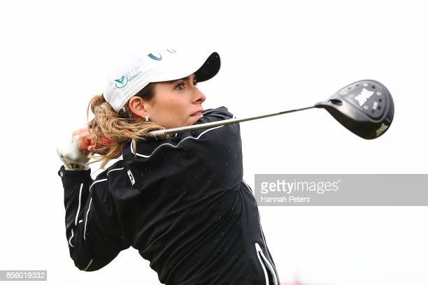 Gaby Lopez of Mexico tees off during day four of the New Zealand Women's Open at Windross Farm on October 1 2017 in Auckland New Zealand