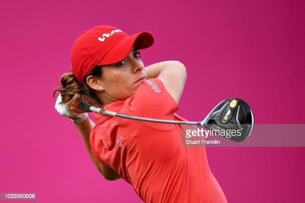 Gaby Lopez of Mexico tees off during day two of the Evian Championship at Evian Resort Golf Club on September 14 2018 in EvianlesBains France