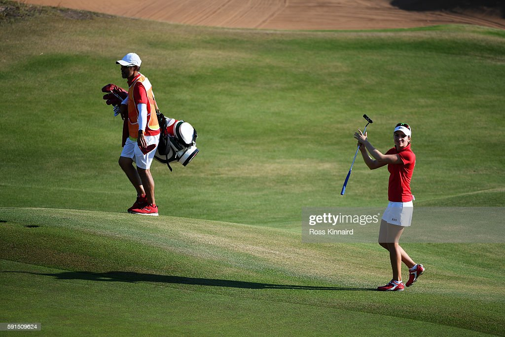 Gaby Lopez of Mexico walks to the 18th tee green during the First Round of Women's Golf at Olympic Golf Course on Day 12 of the Rio 2016 Olympic Games on August 17, 2016 in Rio de Janeiro, Brazil.