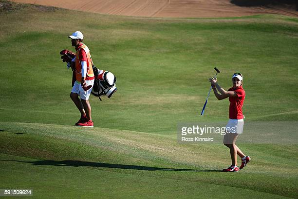 Gaby Lopez of Mexico walks to the 18th tee green during the First Round of Women's Golf at Olympic Golf Course on Day 12 of the Rio 2016 Olympic...