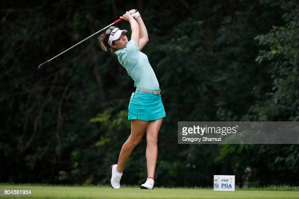 Gaby Lopez of Mexico watches her tee shot on the 13th hole during the second round of the 2017 KPMG PGA Championship at Olympia Fields Country Club...