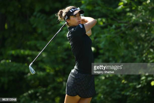 Gaby Lopez of Mexico watches her tee shot on the seventh hole during the third round of the LPGA Volvik Championship on May 26 2018 at Travis Pointe...