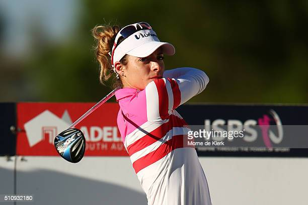 Gaby Lopez of of Mexico competes during day one of the ISPS Handa Women's Australian Open at The Grange GC on February 18 2016 in Adelaide Australia