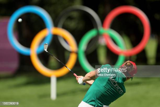 Gaby Lopez of Team Mexico plays her shot from the 16th tee during the first round of the Women's Individual Stroke Play on day twelve of the Tokyo...