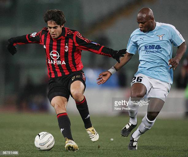 Gaby Mundingayi of Lazio vies for the ball with Kaka of AC Milan during the Serie A match between Lazio and AC Milan on February 5 2006 in Rome Italy