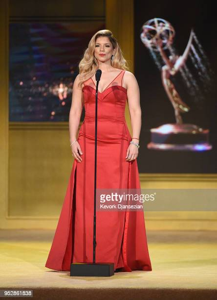 Gaby Natale speaks onstage during the 45th annual Daytime Emmy Awards at Pasadena Civic Auditorium on April 29 2018 in Pasadena California