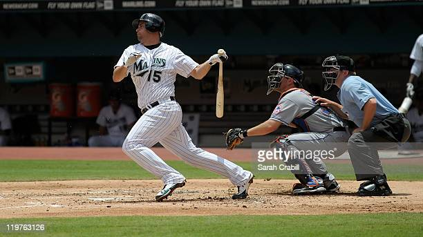 Gaby Sanchez of the Florida Marlins bats during a game against the New York Mets at Sun Life Stadium on July 24 2011 in Miami Gardens Florida